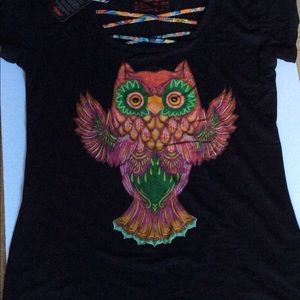 AyGuey! Black Owl Tee shirt plus Sz.  Fitted NWT